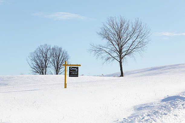 century 21 real estate for sale sign in winter - number 21 stock photos and pictures
