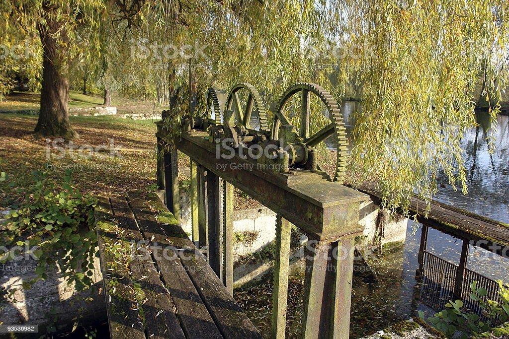 XIX century canal lock - establishing shot stock photo