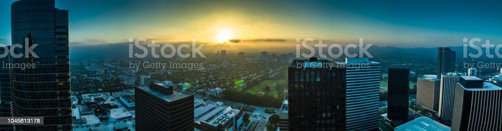 Century City and Los Angeles Sprawl - Aerial Panorama stock photo