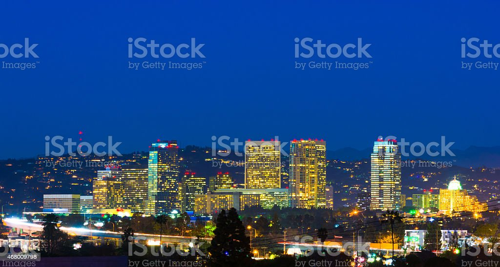 Century City, Los Angeles skyline at Dusk stock photo