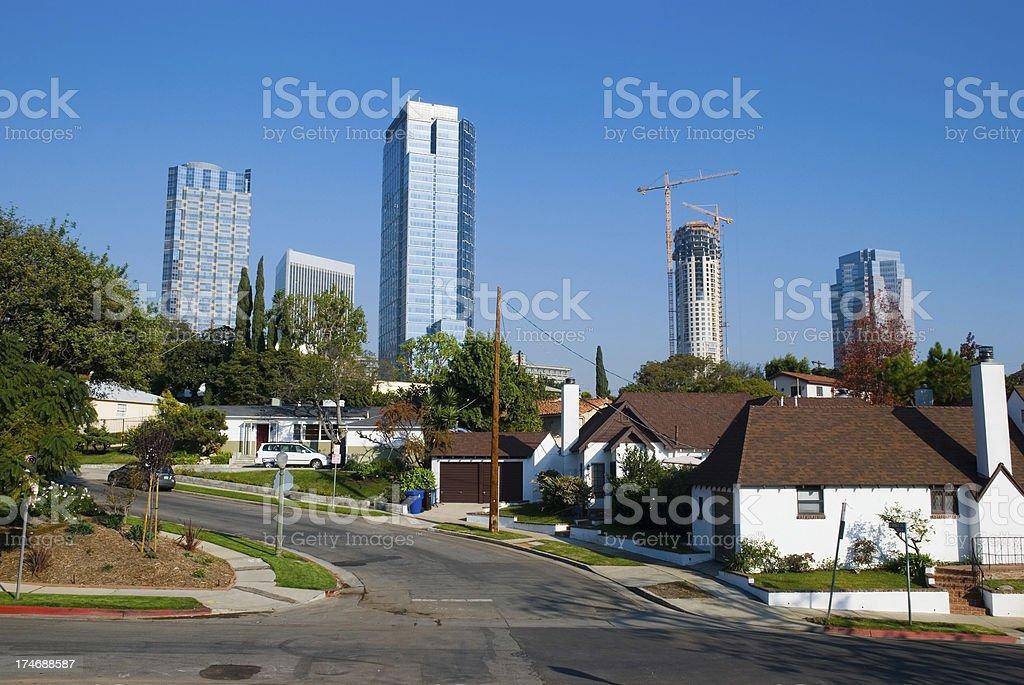 Century City skyscrapers and residential neighborhood stock photo