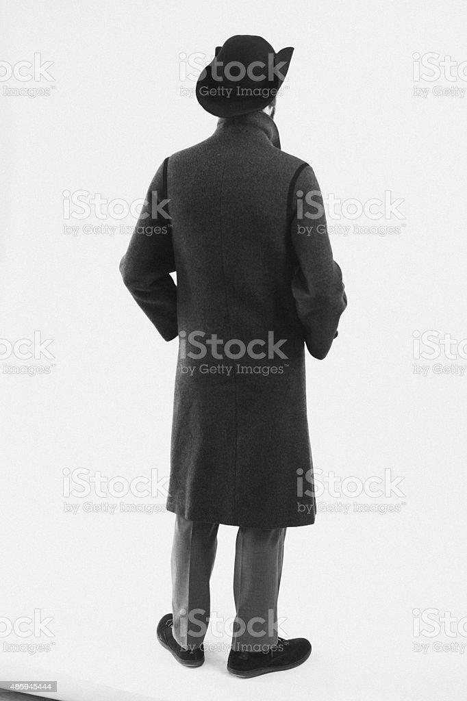 XIX century costume back stock photo