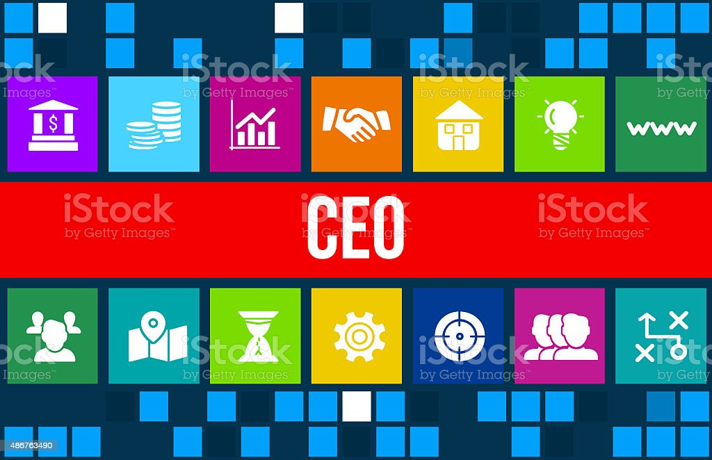 Ceo  concept image with business icons and copyspace. stock photo