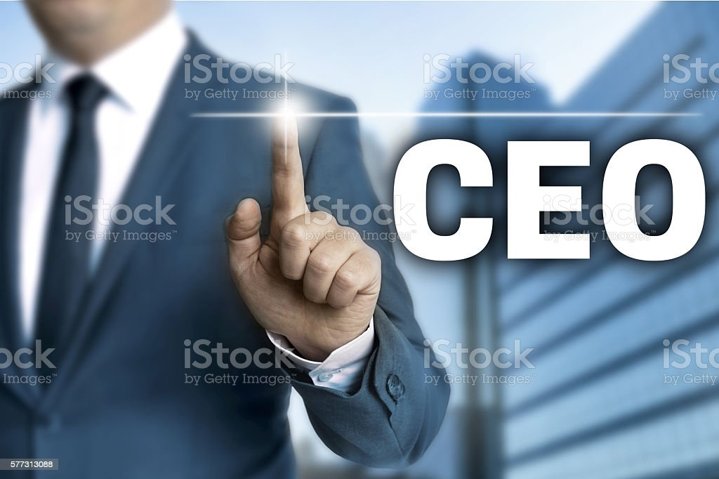ceo touchscreen is operated by businessman stock photo