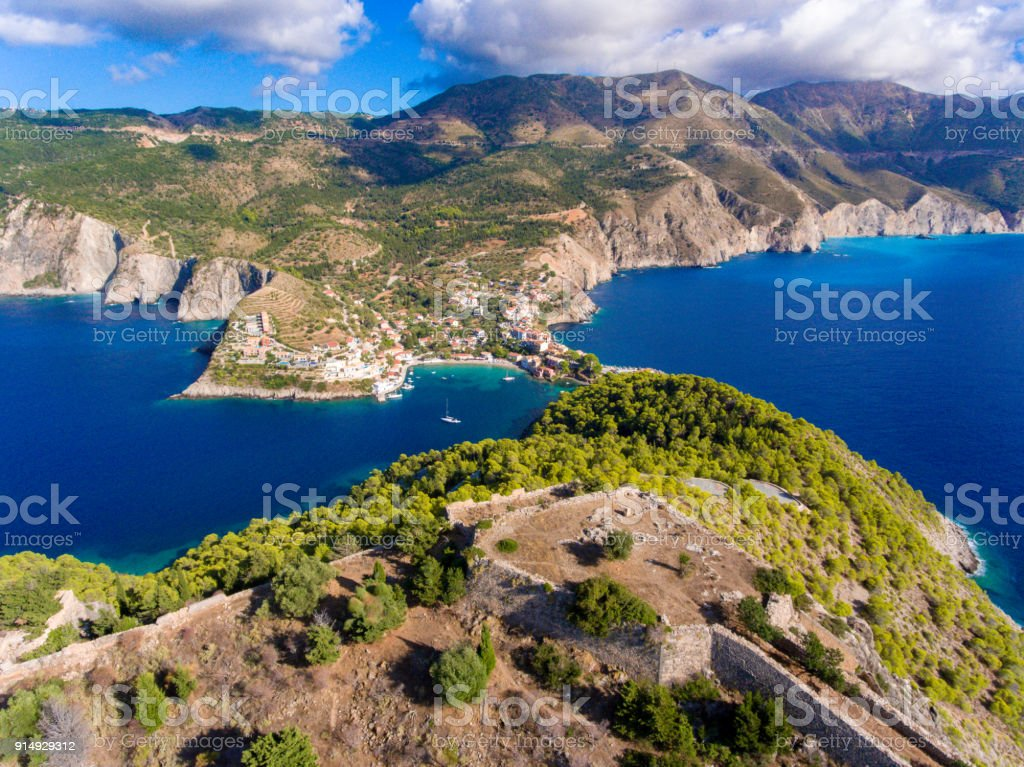 Cephalonia Island Assos Village and Fortress one of the most beautiful travel destinations on the island stock photo