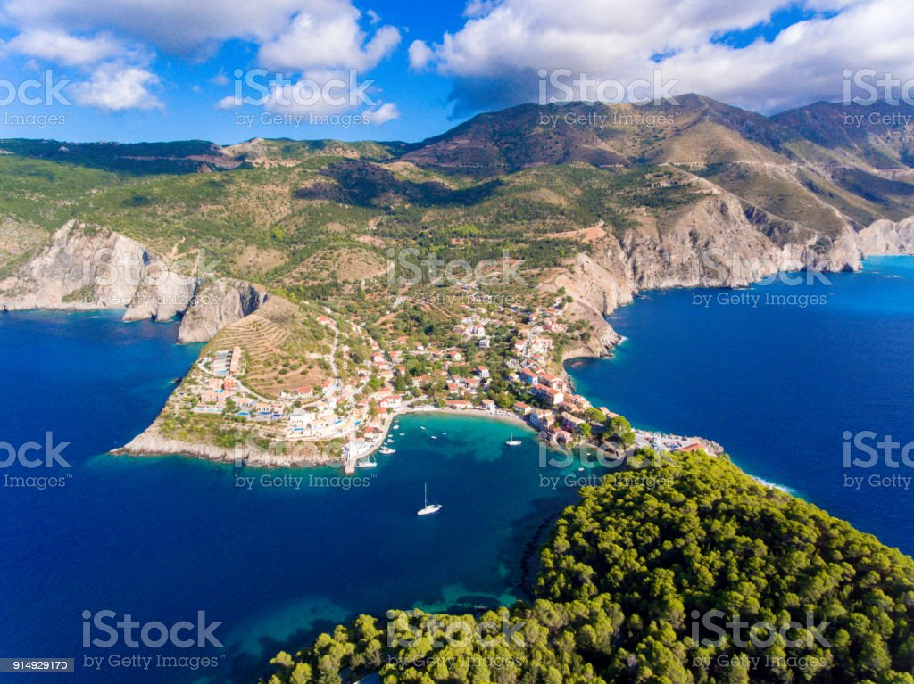 Cephalonia Island Assos Village and port one of the most beautiful travel destinations on the island stock photo