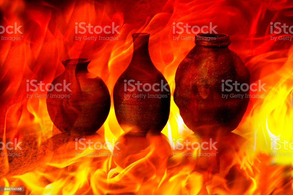 Ceramic art images of flames stock photo