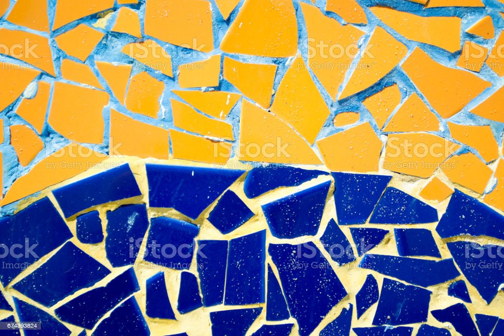 Ceramic background. Orange and blue stock photo