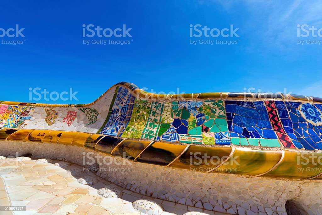 Ceramic Bench Park Guell - Barcelona Spain stock photo