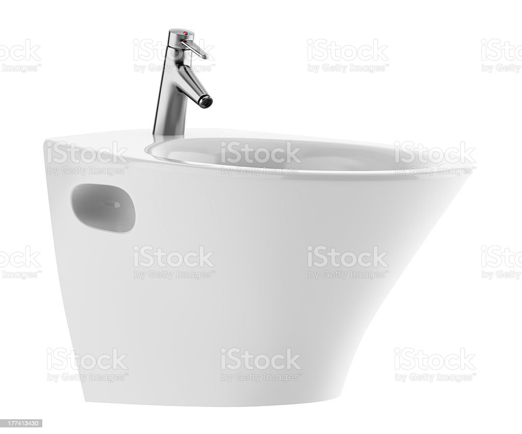 ceramic bidet isolated on white background stock photo