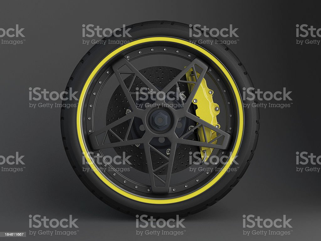 Ceramic Brake System with tyre and rim stock photo
