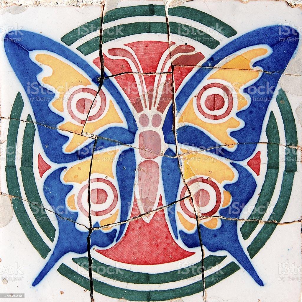 Ceramic butterfly by Antoni Gaudi in Barcelona, Spain royalty-free stock photo