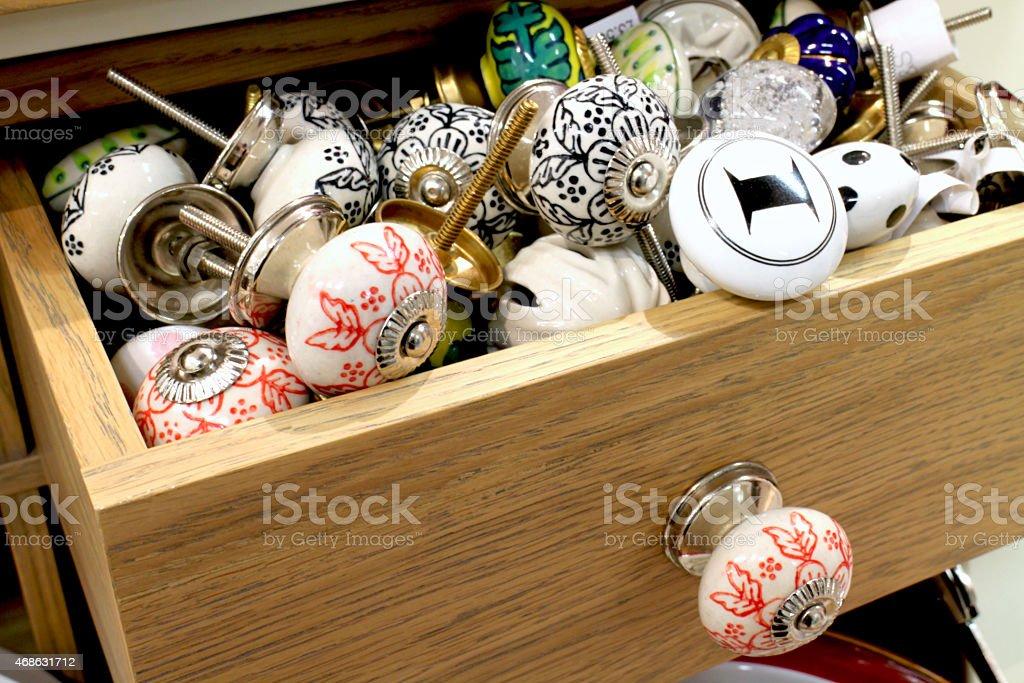Ceramic cabinet knobs stock photo