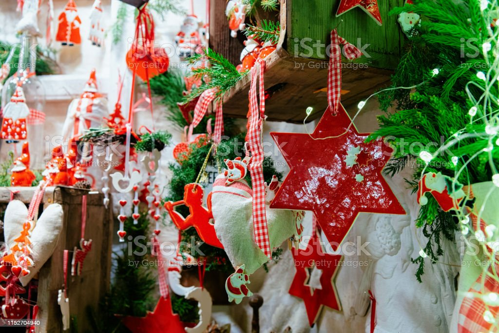 Ceramic Christmas Tree Decorations.Ceramic Christmas Tree Decorations On Christmas Market In