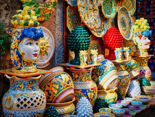 ceramic craft items on sale in Sicily Italy ceramic craft items on sale in Sicily Italy sicily stock pictures, royalty-free photos & images