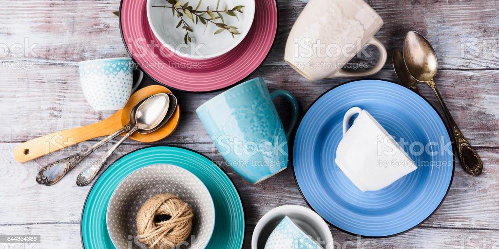 Ceramic crockery on wooden background stock photo