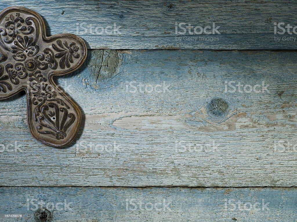 Ceramic Cross on Weathered Wood - XXXL royalty-free stock photo