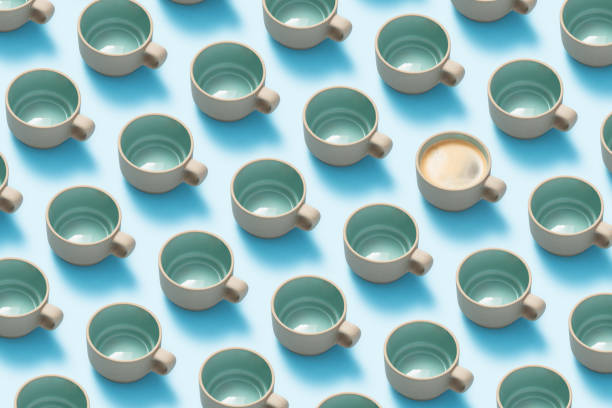 Ceramic cup flat lay on blue background. stock photo