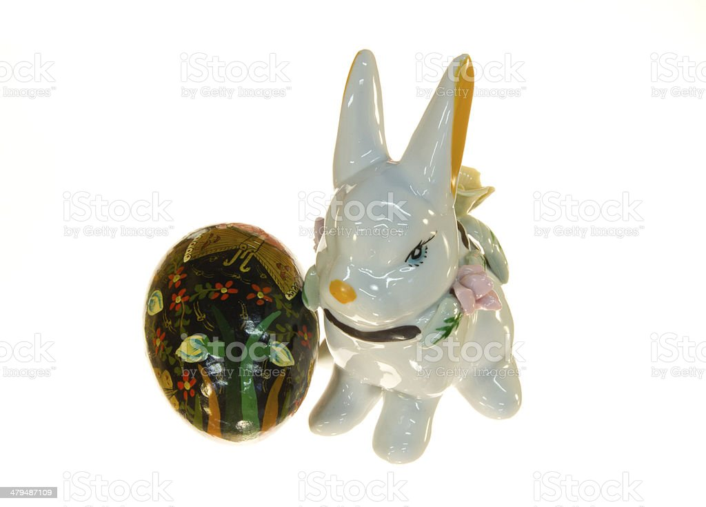 Ceramic Easter Bunny With Egg stock photo