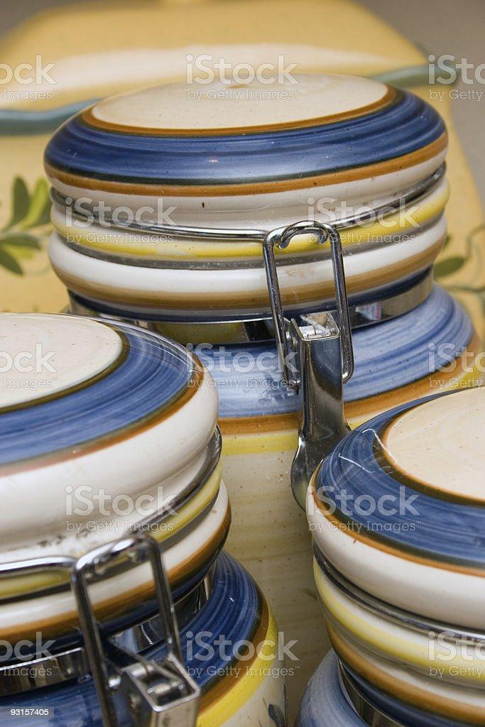 ceramic food jars royalty-free stock photo