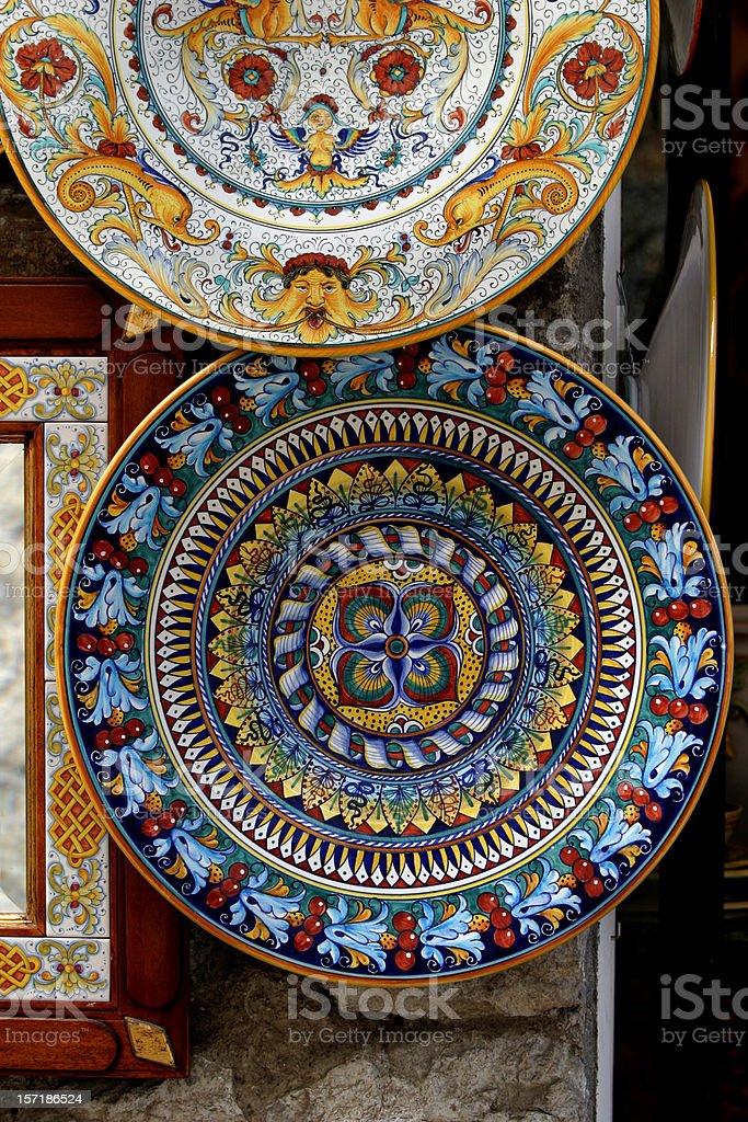 Ceramic Handpainted Plates Italy stock photo