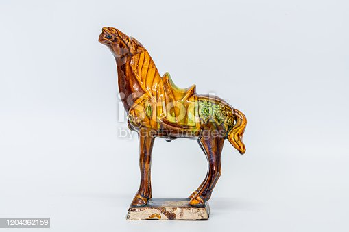 Ceramic horse,Chinese traditional Tang Dynasty three-color glazed pottery, glazed horse