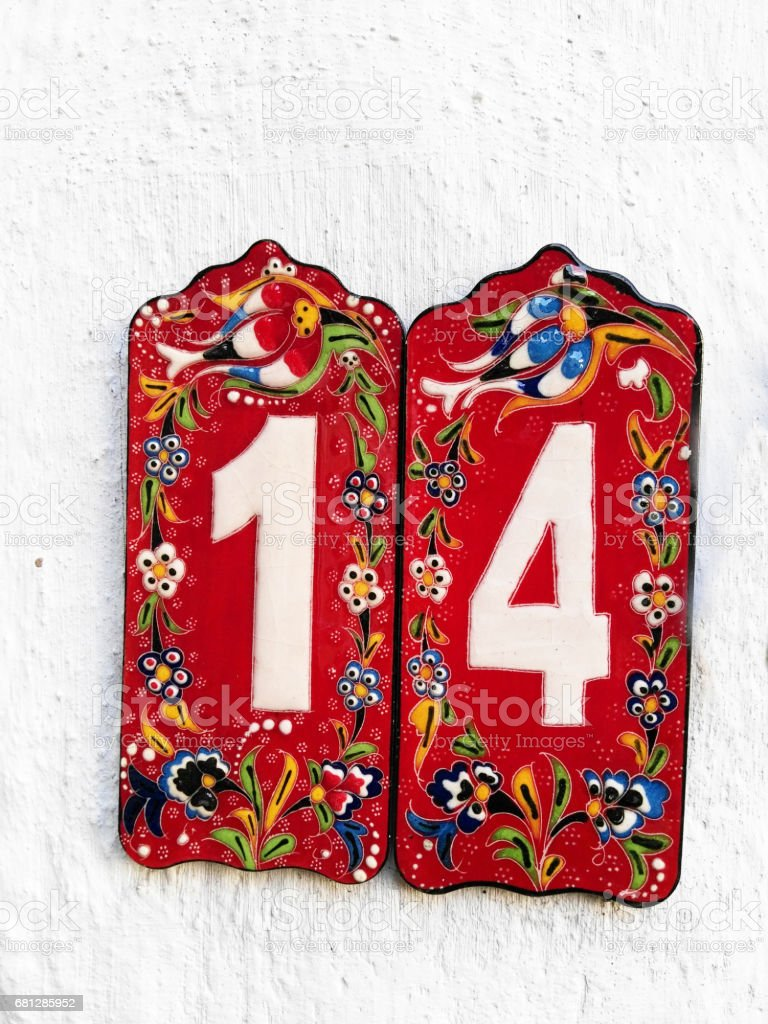 Ceramic house number royalty-free stock photo