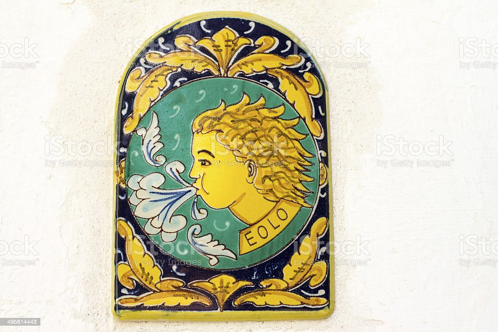 Ceramic House Tile Showing Aeolus God Of Wind Italian Islands Royalty Free Stock