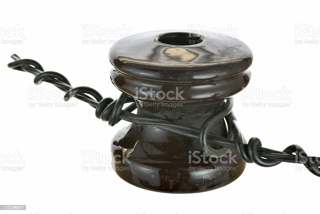 Ceramic Insulator And Wire Stock Photo - Download Image Now