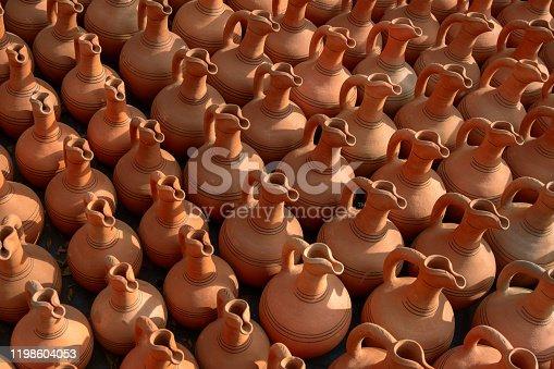 top view ceramic jugs pattern for wine in a street market