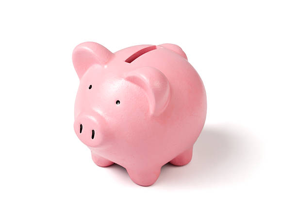 A ceramic light pink piggy bank stock photo