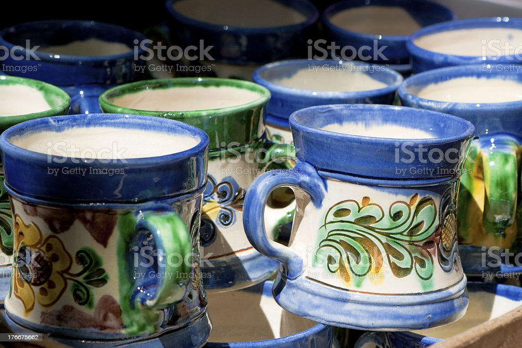 Ceramic mugs royalty-free stock photo