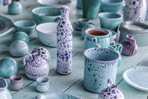 ceramic objects and bottle
