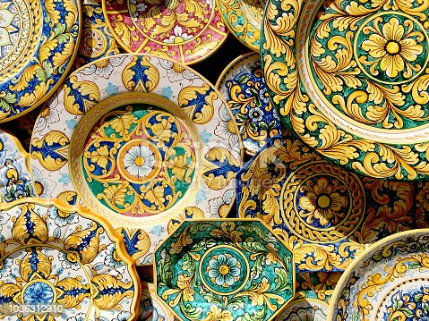 Typical ceramic products of Sicilian style in the old town of the historic village of Erice in Sicily, Italy