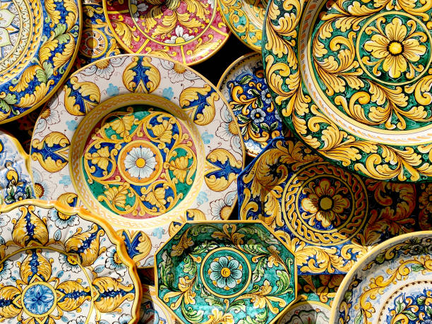 Ceramic of Sicily Typical ceramic products of Sicilian style in the old town of the historic village of Erice in Sicily, Italy sicily stock pictures, royalty-free photos & images