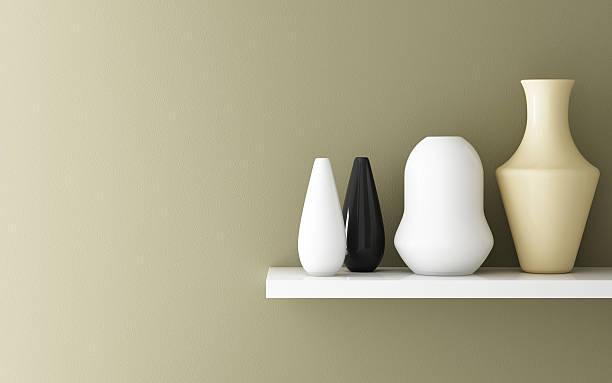 ceramic on white shelf stock photo