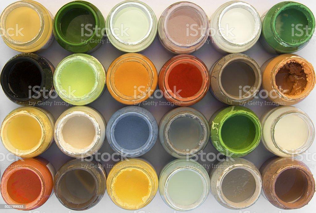ceramic paint jars stock photo