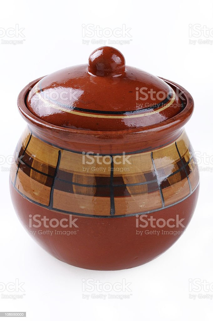 Ceramic pattern pot isolated on white background stock photo