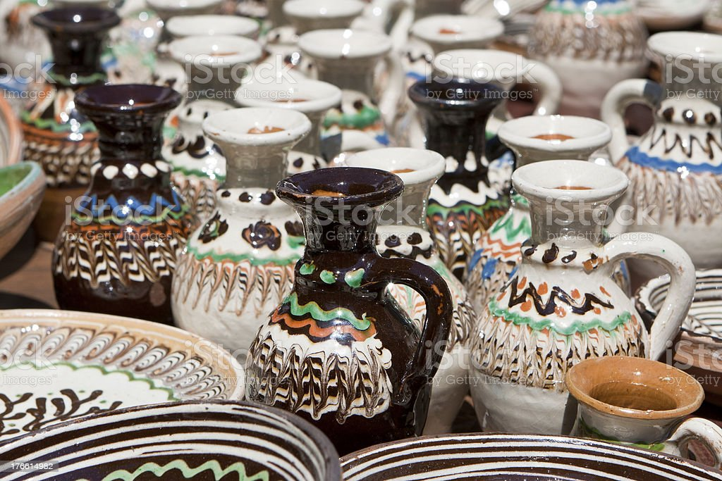 Ceramic plates and pitchers royalty-free stock photo