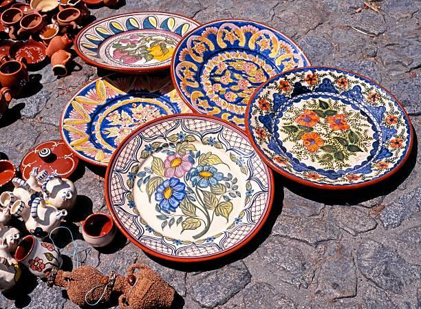 Ceramic plates on floor, Evora, Portugal. stock photo