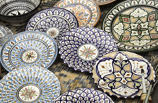 Ceramic plates painted