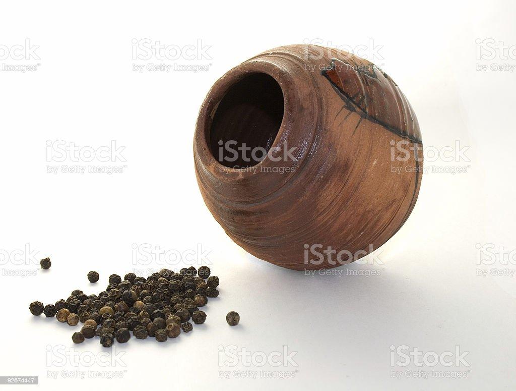 ceramic pot with pepper stock photo