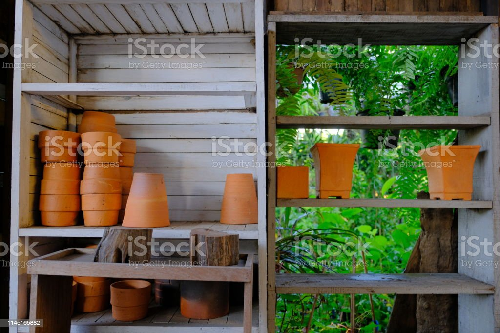 Ceramic pots arranged on shelves