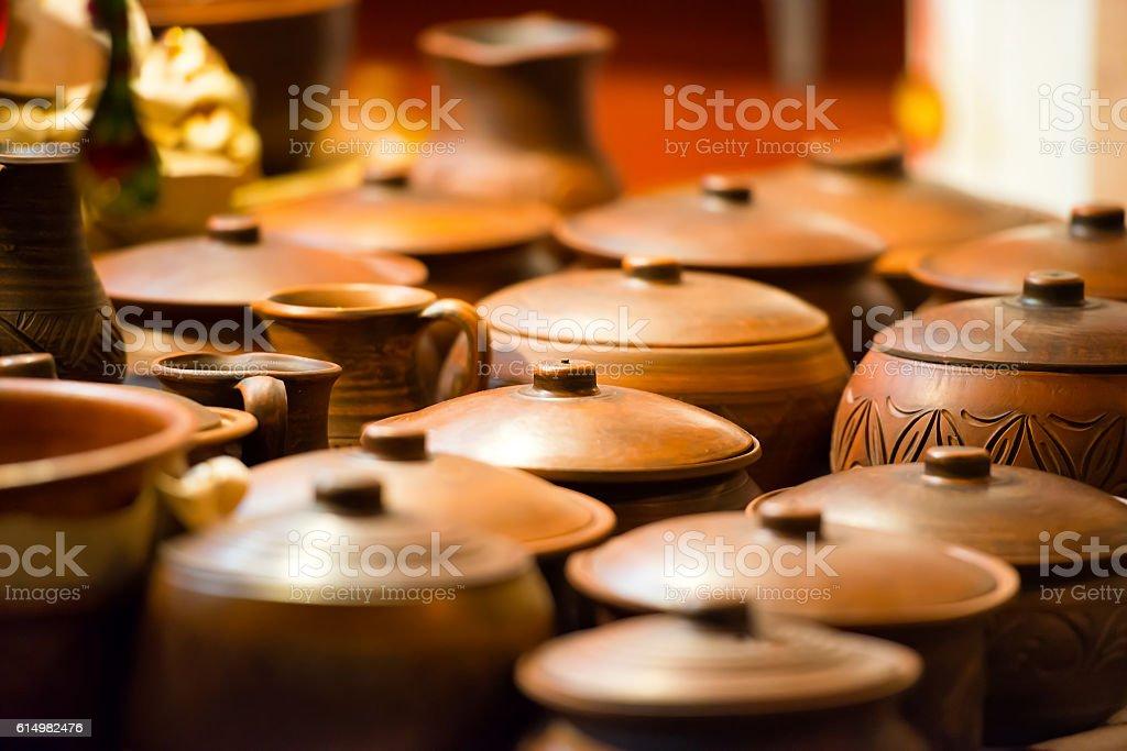 Ceramic pots from the clay stock photo