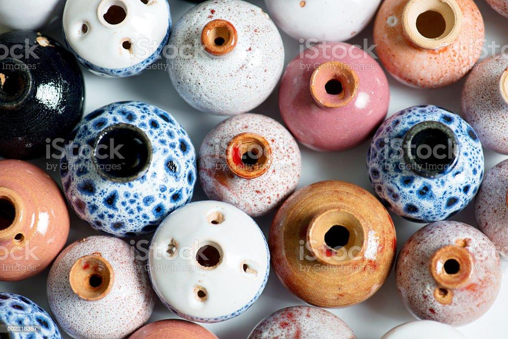ceramic pots in glaze stock photo