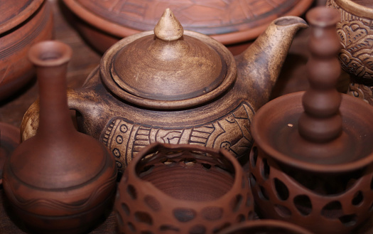 ceramic tableware. Brown clay teapot