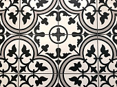 Black and White Ceramic Tile Pattern Background close up