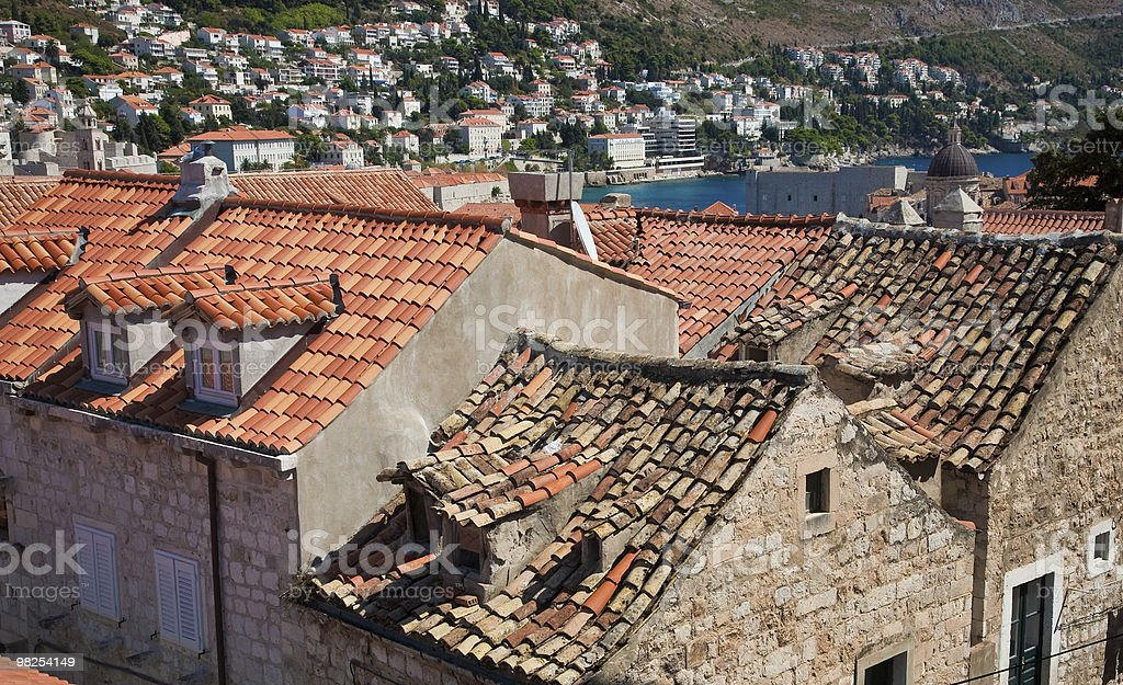 Ceramic tiled roofs dominate the old city in Dubrovnik, Croatia royalty-free stock photo