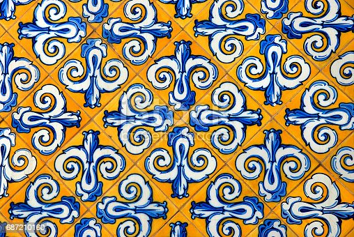 istock Ceramic tiles in yellow and blue 687210160
