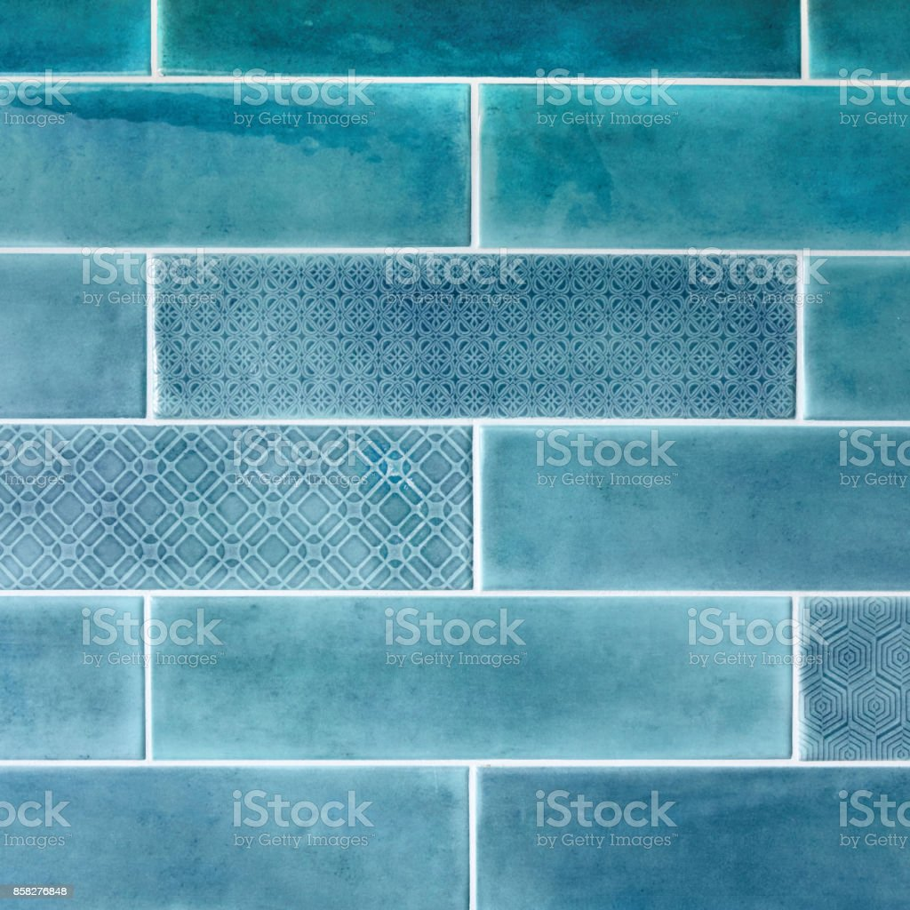 Ceramic tiles on the wall in blue. stock photo